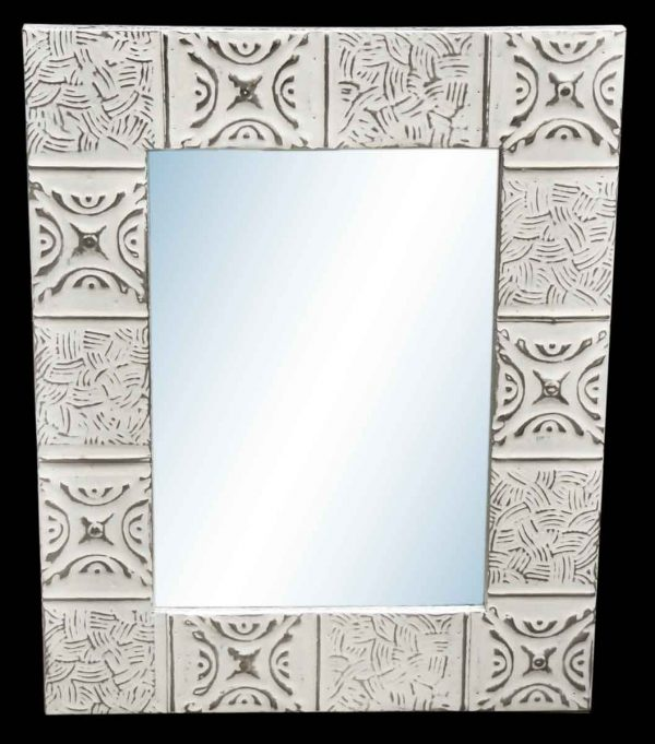 Basket Weave 4.5 in. Tin Framed Mirror