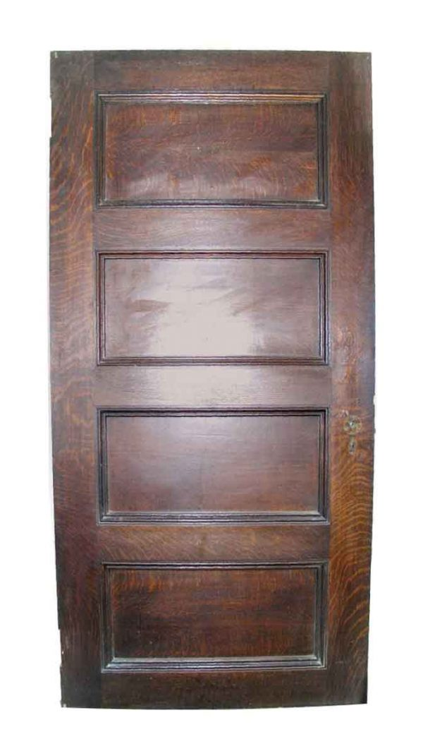 Short Interior Four Panel Quatersawn Oak Door