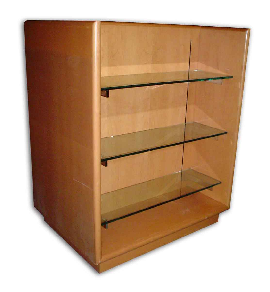 Wooden double display case with three glass shelves olde for Display home furniture