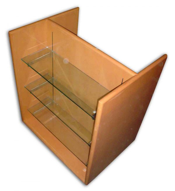 Wooden Double Display Case with Three Glass Shelves