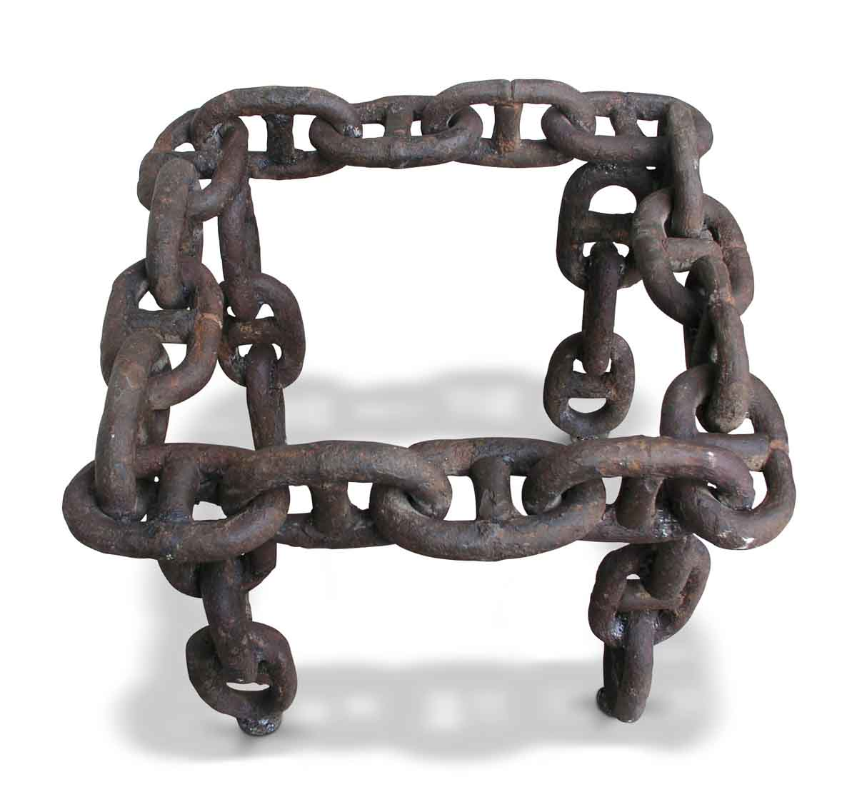 Vintage square wrought iron nautical chain link table