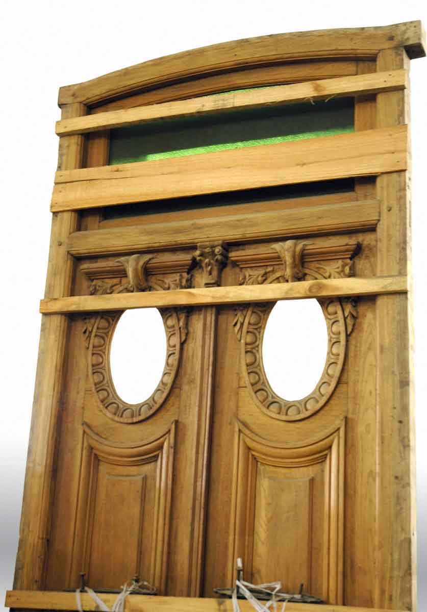 Carved Double Door With Blue Glass Transom Olde Good Things