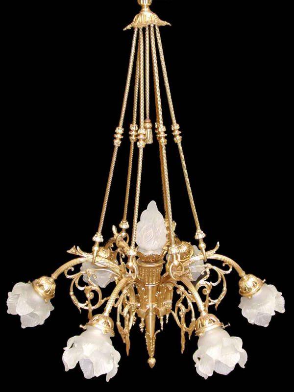 French Bronze & Glass Chandelier