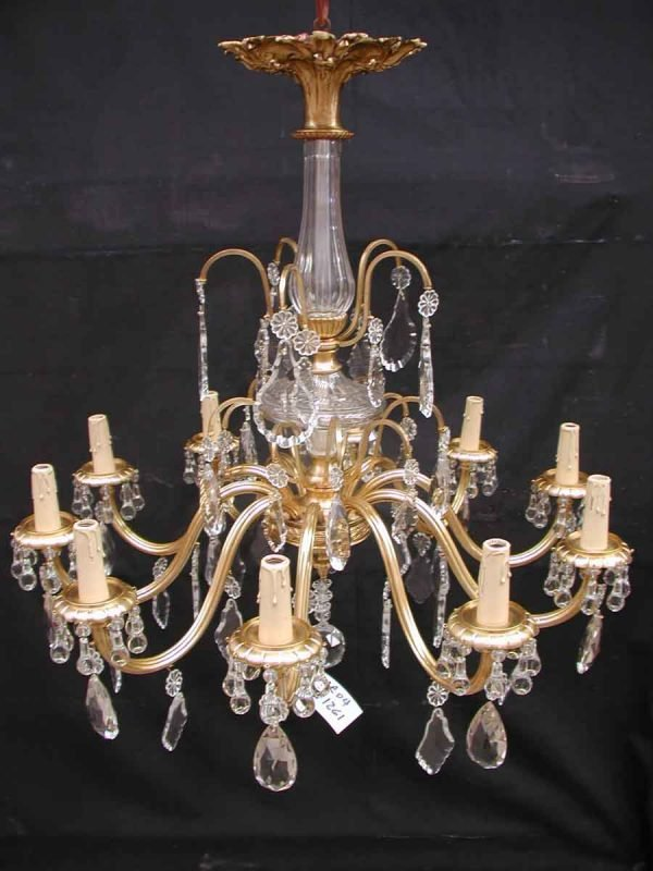 Ten Arm Brass and Crystal Chandelier