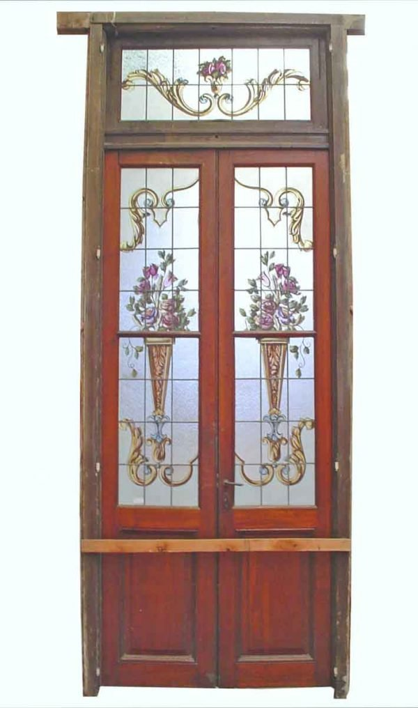 Double Doors with Painted Glass