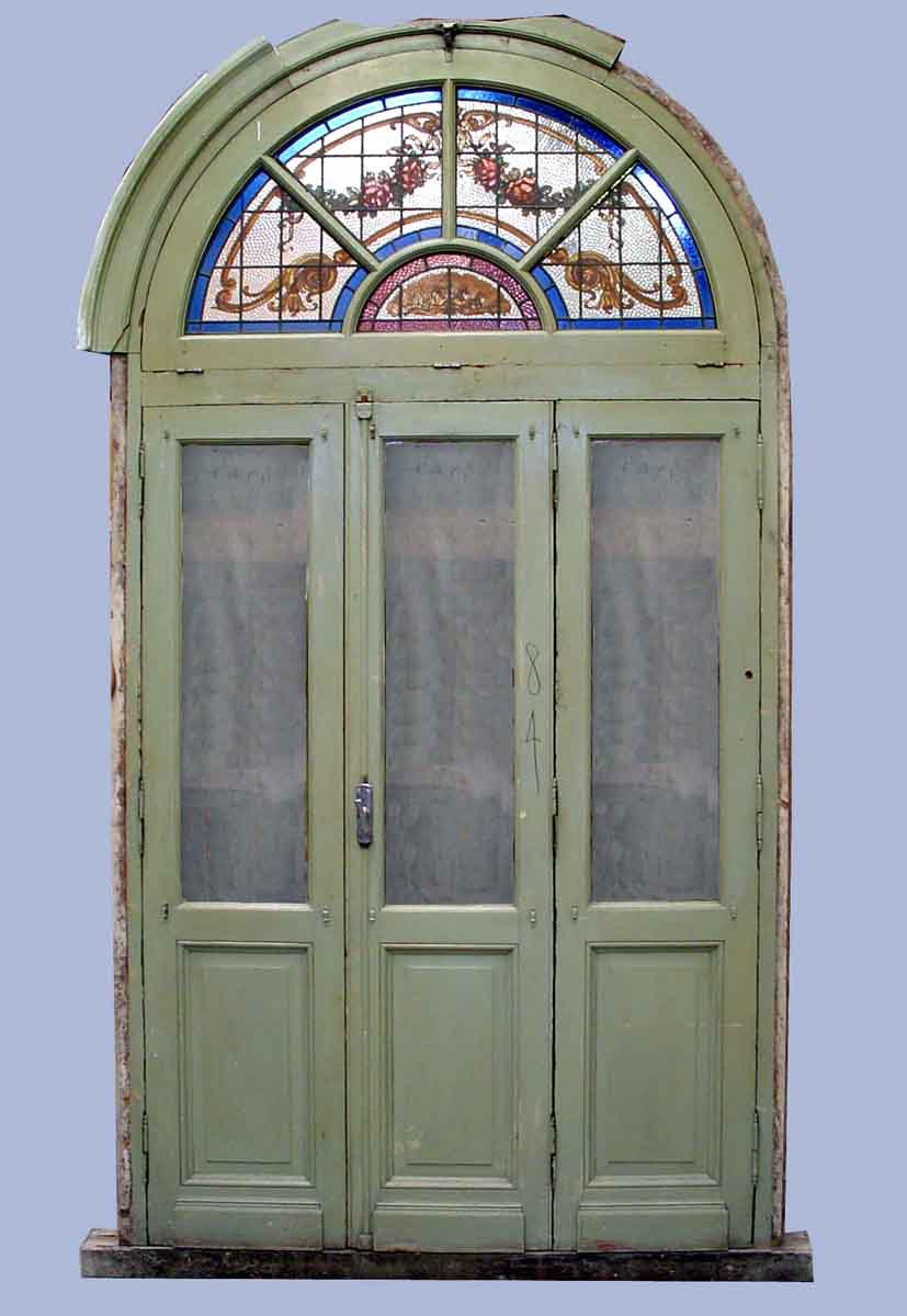 Arched door with stained glass transom olde good things - Doors for arched doorways ...