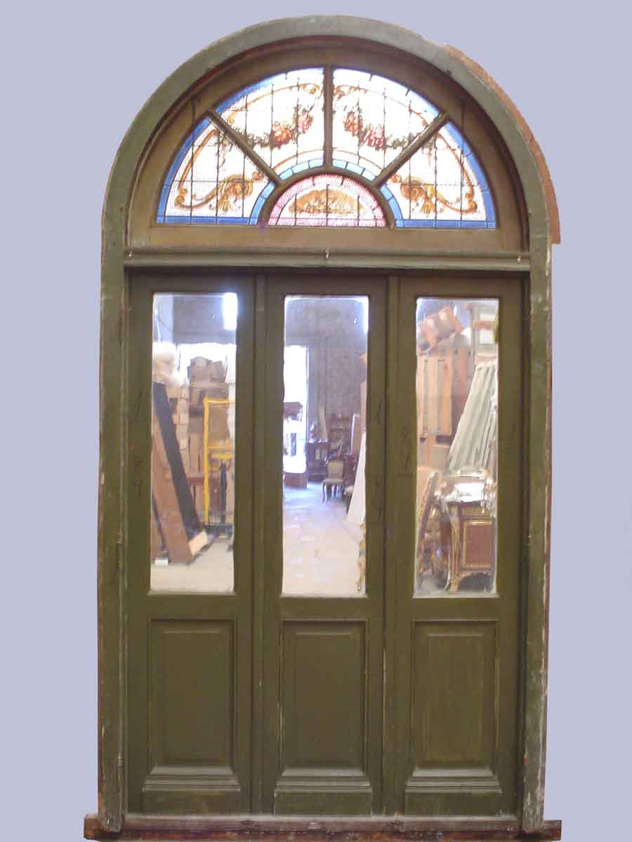 Arched door with stained glass transom olde good things - Arched interior doors with glass ...