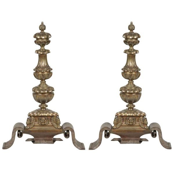 Pair of Bronze & Wrought Iron Figural Andirons