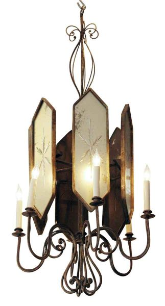 Deco Venetian Style Chandelier with Etched Mirrored Glass