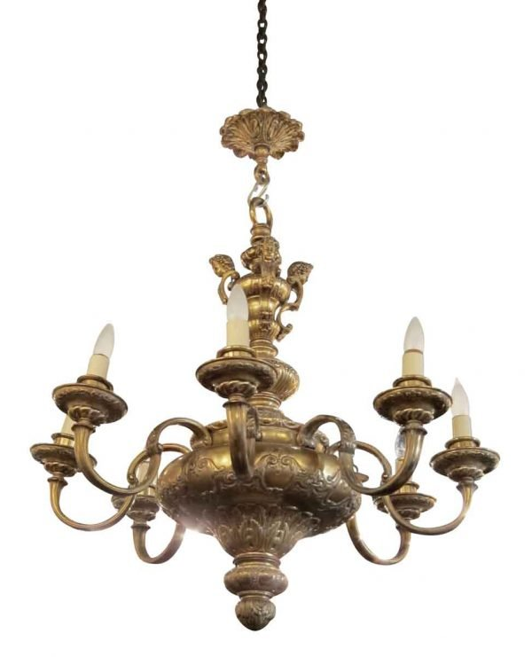 Gold Plated Eight Arm French Chandelier
