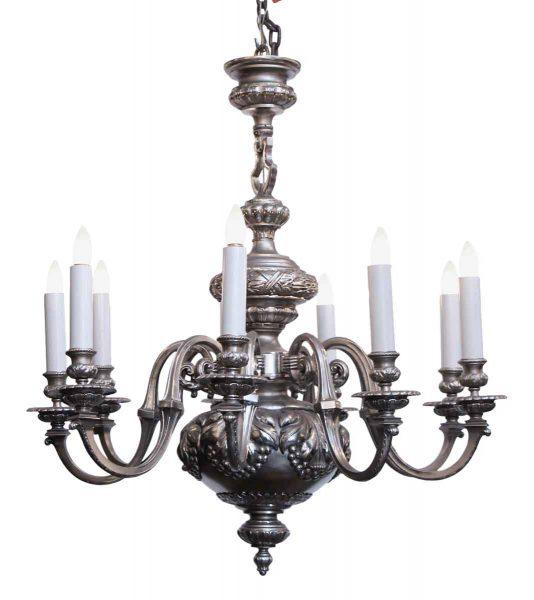 Silvered Bronze Eight Light Chandelier