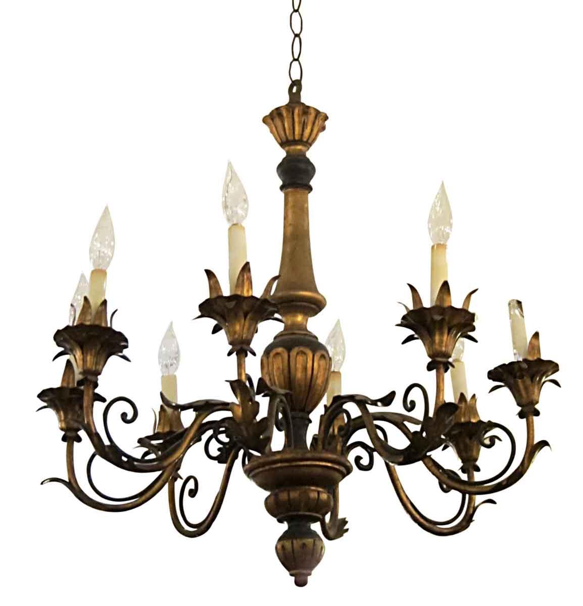 Florentine Dining Room: Wood & Gilt Metal Florentine Style Chandelier