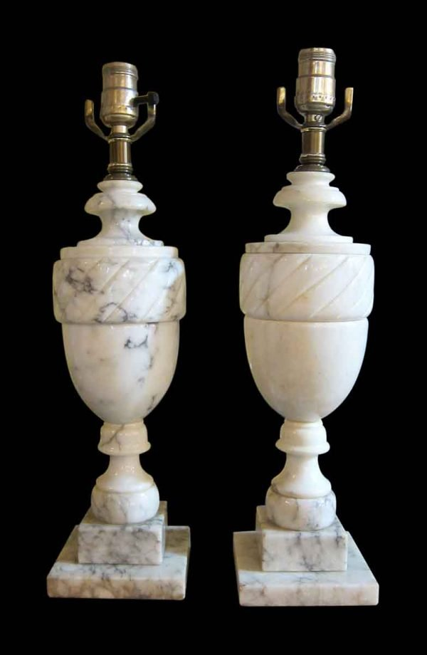 Pair of Neo Classical Alabaster Urn Lamps