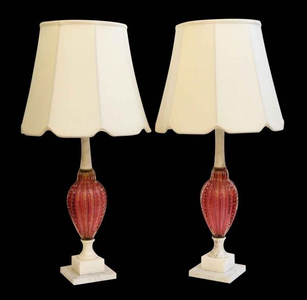 Pair of Italian Made Glass and Alabaster Table Lamps