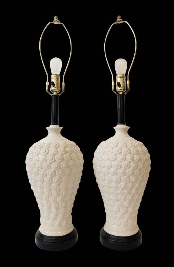 1930s Pair of French Made Floral Porcelain Lamps