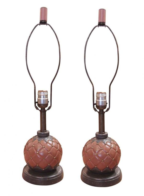 Pair of Boudoir Style Leather Lamps