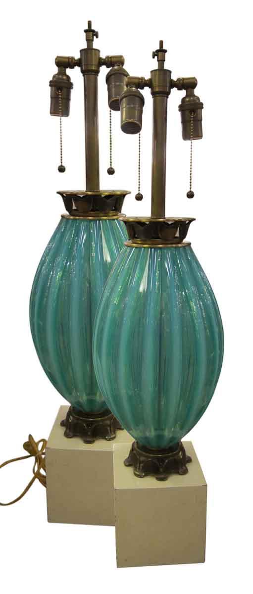 Turquoise Murano Style Glass Lamp