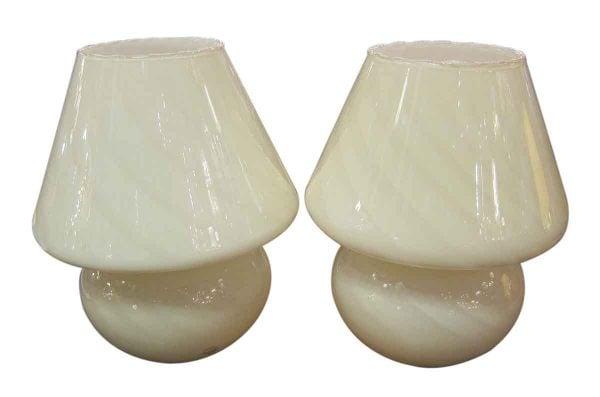 White Mushroom Murano Glass Lamps