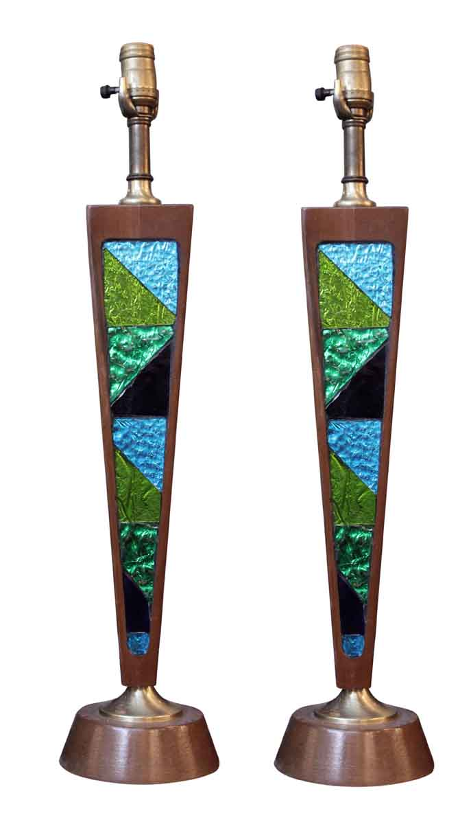 1950s Danish Modern Style Lamps With Stained Glass Olde