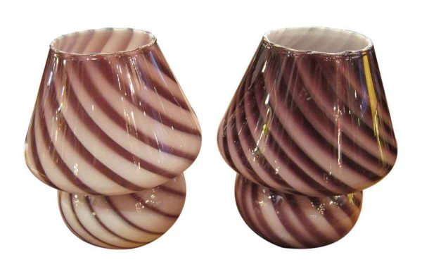 Pair of Purple Murano Glass Table Lamps