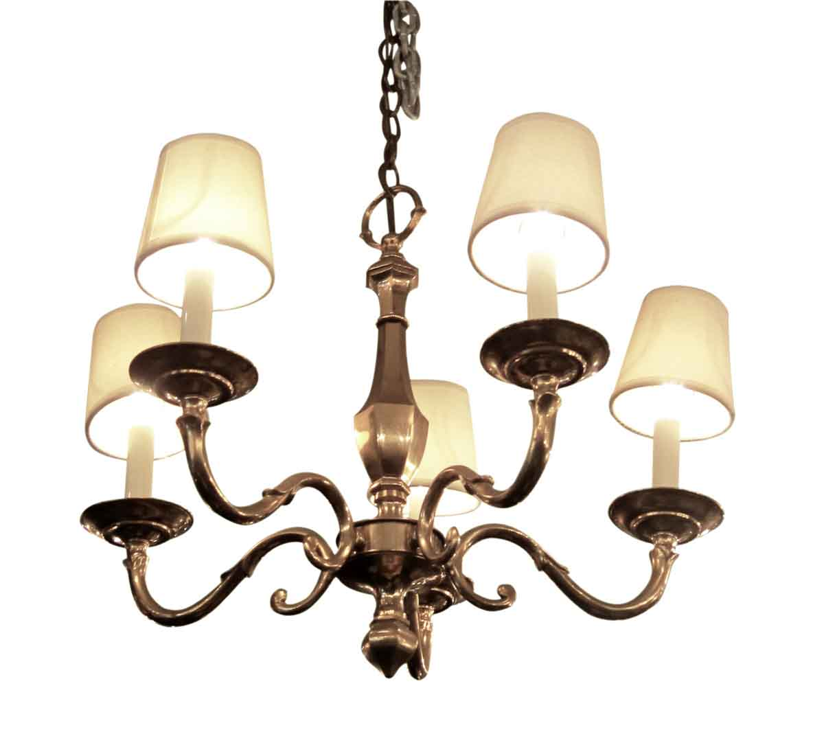 Four Arm Brass Chandelier with Shades | Olde Good Things