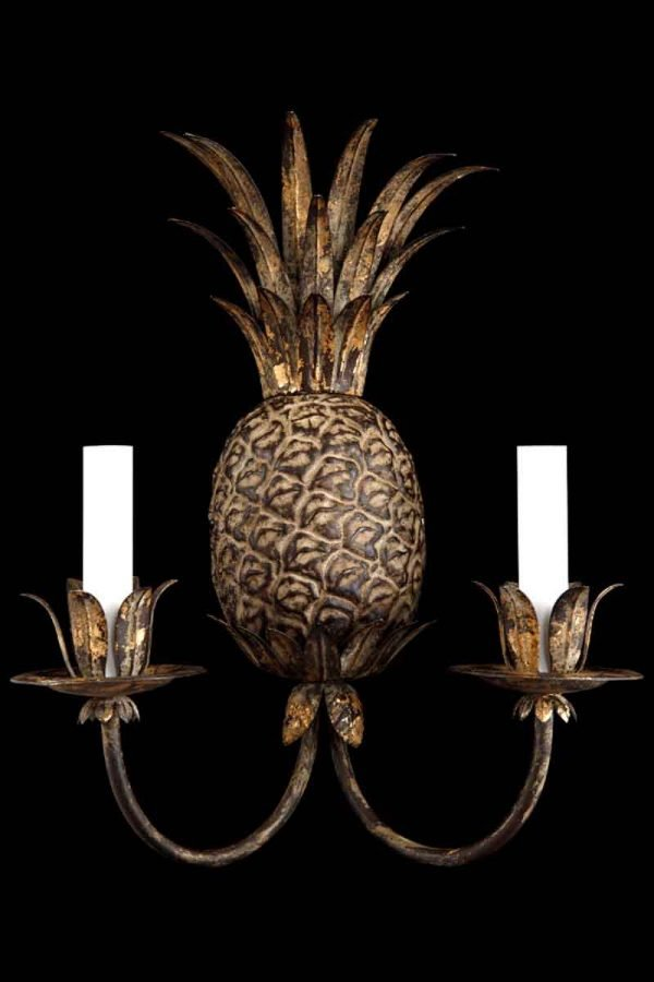 Pineapple Florentine Style Gilt Brass Sconce