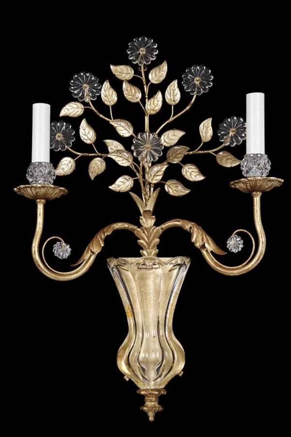 Two Arm Bagues Gilt Metal & Crystal Sconce