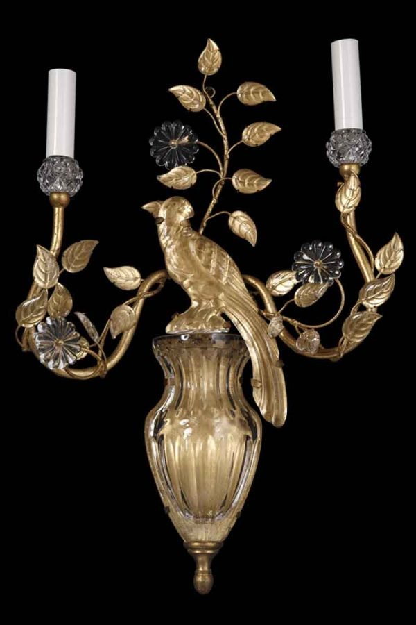 Bagues Style Gilt Metal & Crystal Bird Sconce