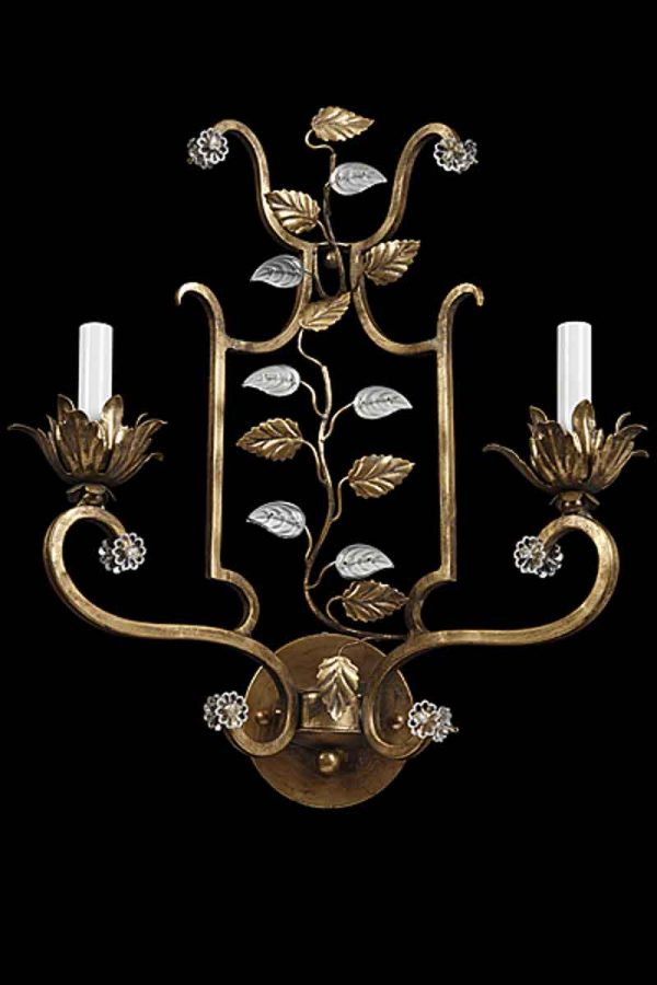 Branca Muro Florentine Style Wrought Iron & Crystal Sconce