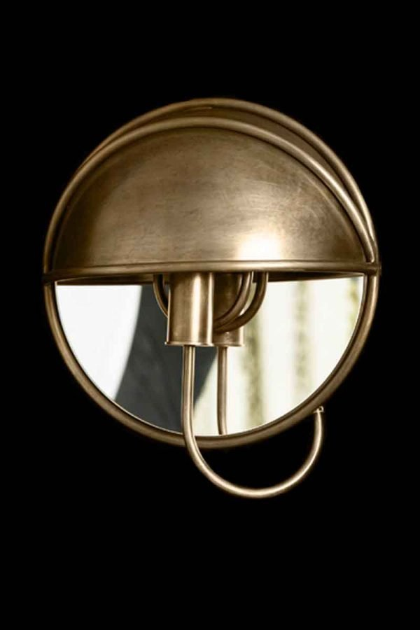 Modern Style Cast Brass Mirrored Sconce