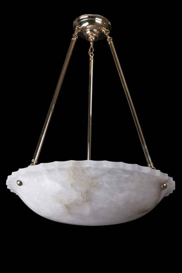 Carved Alabaster Dish Light with Polished Brass Fitter
