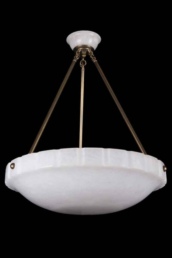 Art Deco Style Alabaster & Brass Dish Chandelier