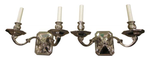 Art Deco Pair of Nickeled Bronze Sconces
