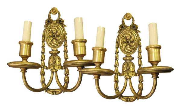 Pair of Caldwell 1900s Gilded Bronze Sconces
