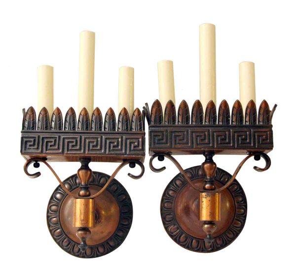 Pair of Cast Bronze Neoclassical Sconces