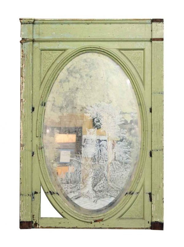 Green Wood Framed Mirror with Etched Detailing
