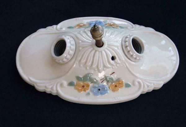 Porcelain Floral Ceiling Mount Fixture