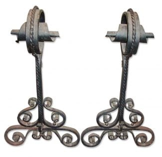 Wrought Iron Andirons with Spiral Tops