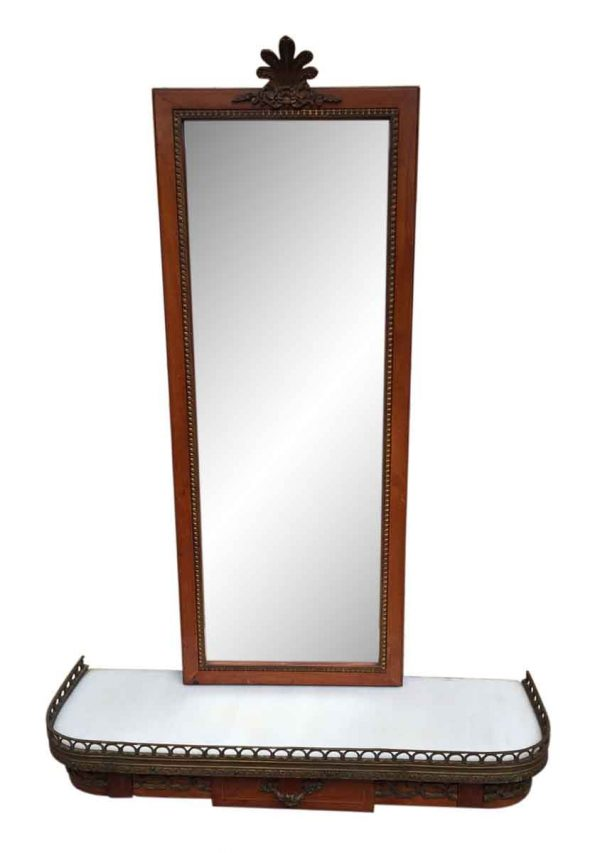 Small Entry French Console & Mirror with Bronze Ormolu