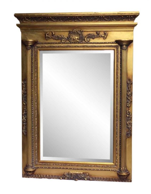 Gilded Federal Style Over Mantel Mirror with Beveled Glass