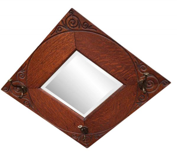 Quarter Sawn Hall Tree Diamond Shaped Mirror