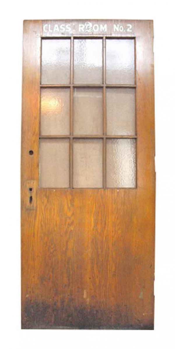 Oak School Door with Nine Glass Lites
