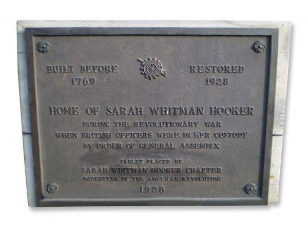 Bronze Plaque from the Home of Sarah Whitman Hooker
