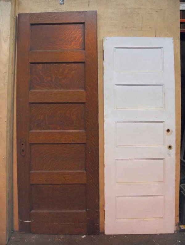 Wood Door with Five Recessed Horizontal Panels