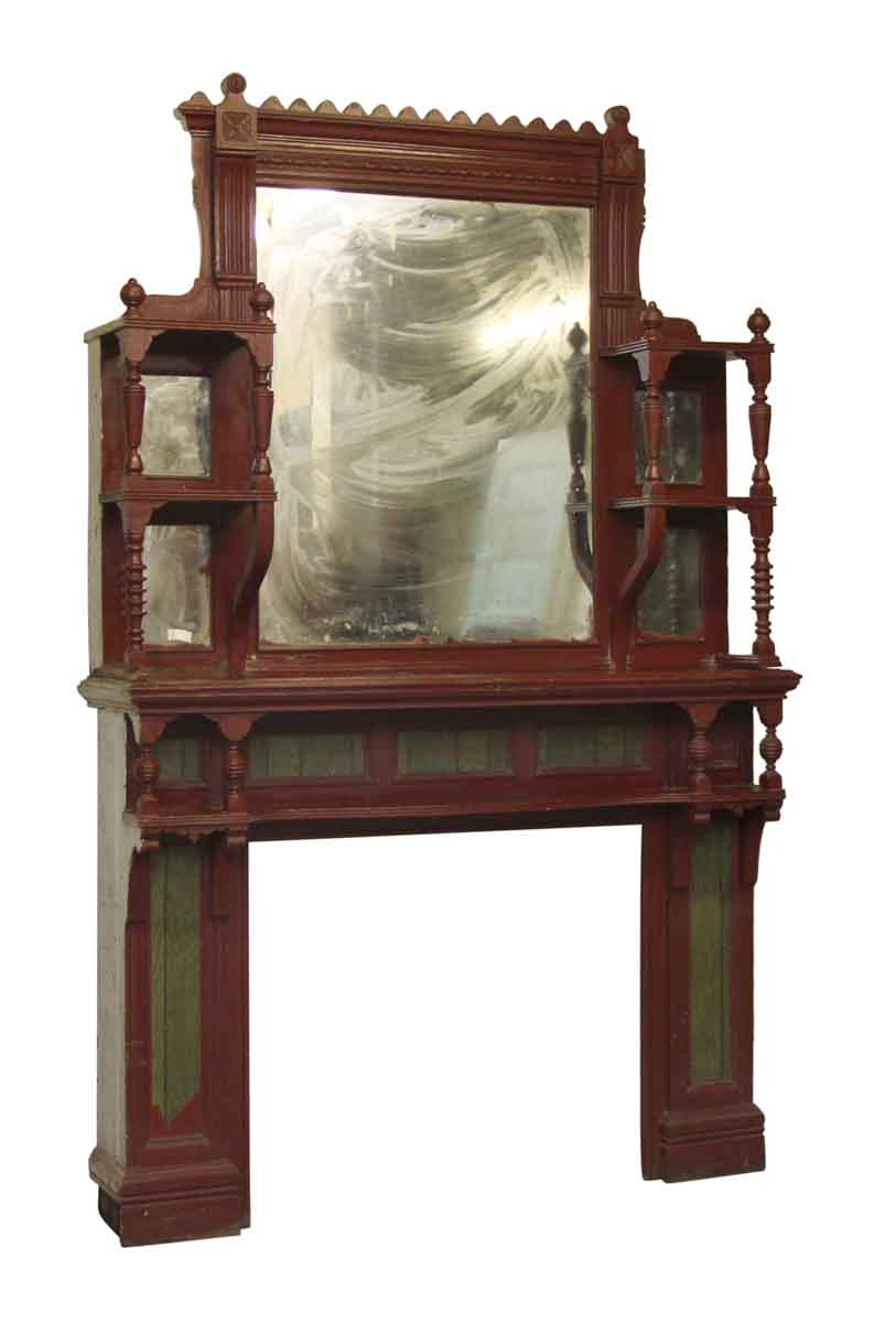 Eastlake Style Wood Fireplace Mantel With Distressed Mirror Olde Good Things