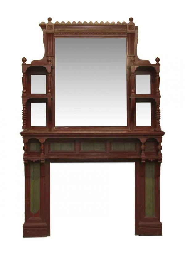 Eastlake Style Wood Fireplace Mantel with Distressed Mirror
