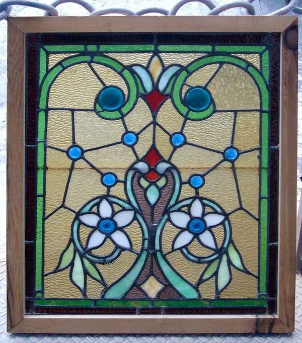 Colorful Stained Glass Window with Flower Motif with 10 Jewels