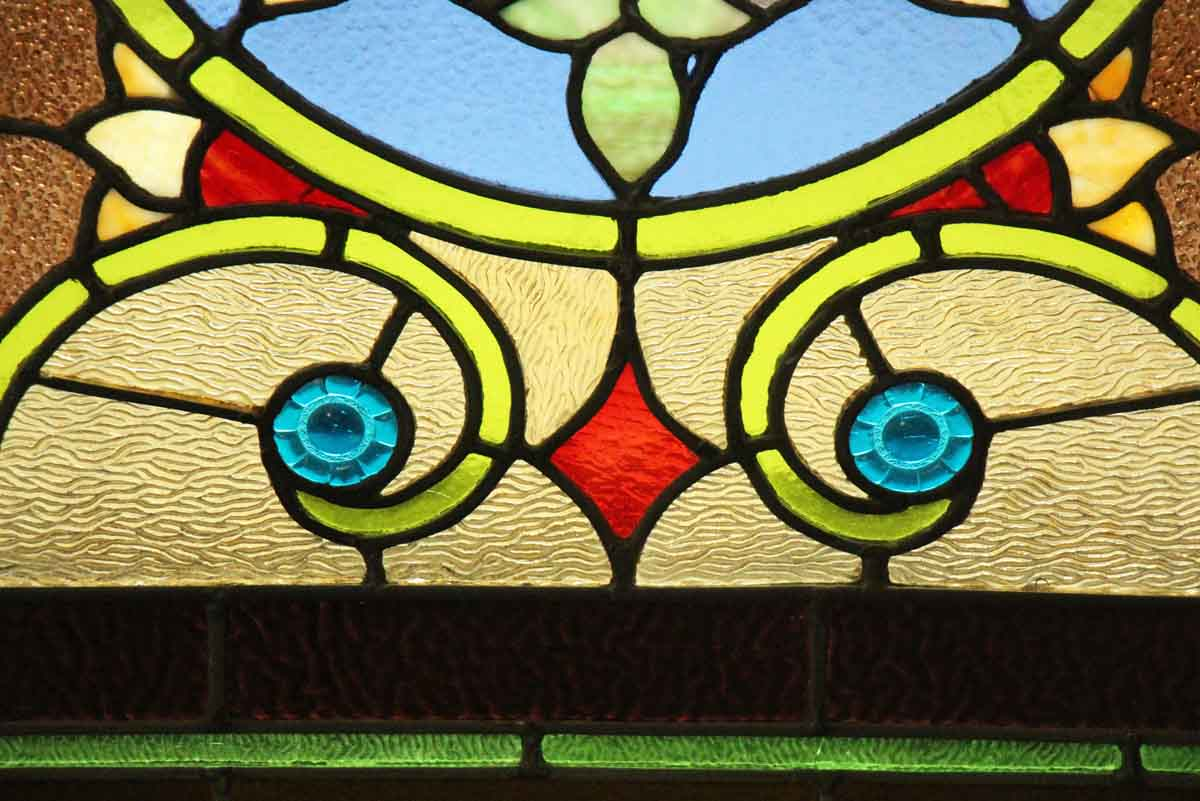 Wreath Design Stained Glass Arched Window | Olde Good Things