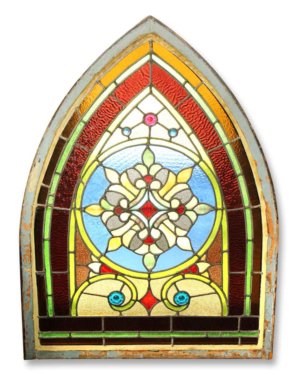 Transom Windows A Useful Design Element: Wreath Design Stained Glass Arched Window
