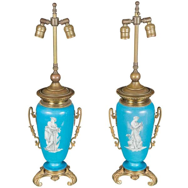 Pair of Bronze Lamps with Turquoise Vase